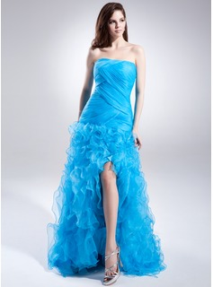 A-Line/Princess Strapless Sweep Train Organza Prom Dress With Split Front Cascading Ruffles