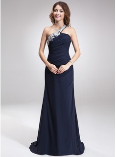 Sheath Sweep Train Chiffon Evening Dress With Lace Beading