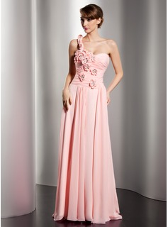 A-Line/Princess One-Shoulder Sweep Train Chiffon Prom Dress With Ruffle Beading Flower(s)