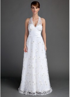 A-Line/Princess Halter Floor-Length Lace Wedding Dress With Ruffle Beading