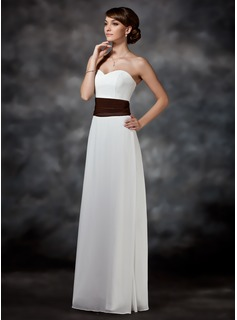 Sheath Sweetheart Floor-Length Chiffon Charmeuse Bridesmaid Dress With Ruffle Sash
