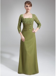 Sheath/Column Square Neckline Floor-Length Chiffon Mother of the Bride Dress With Lace Beading Sequins