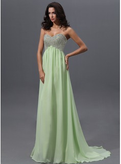 Empire Sweetheart Sweep Train Chiffon Prom Dress With Beading Sequins (018022743)