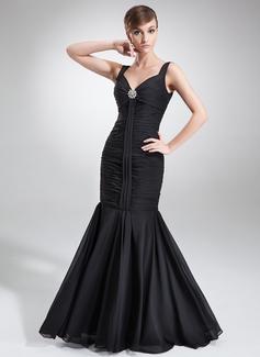 Trumpet/Mermaid V-neck Floor-Length Chiffon Evening Dress With Ruffle Crystal Brooch