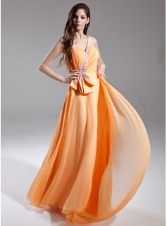 A-Line/Princess One-Shoulder Watteau Train Chiffon Prom Dress With Ruffle Beading