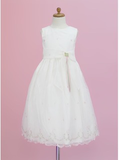 A-Line/Princess Scoop Neck Ankle-Length Organza Flower Girl Dress With Flower(s)