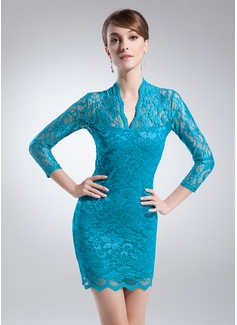 Kılıf V Yaka Kısa/Mini Lace Gelin Annesi Elbisesi