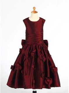 A-Line/Princess Tea-length Flower Girl Dress - Taffeta Sleeveless Scoop Neck With Ruffles/Flower(s)/Sequins/Bow(s)