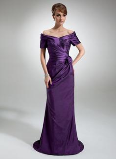 Pouzdro Off-the-rameno Dlouhá vlečka Taft Šaty pro matku nevěsty S Volán Zdobení korálky Květiny