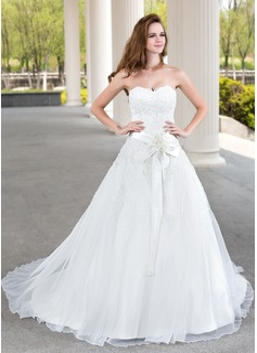 Balklänning Hjärtformad Court släp Satäng Organzapåse Spetsar Bröllopsklänning med Pärlbrodering Blomma (or)