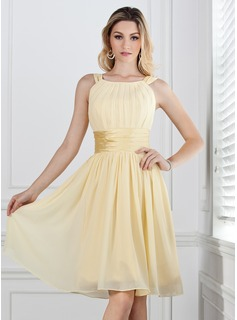 A-Line pleated Chiffon Knee-length Bridesmaid Dress With Charmeuse Sash
