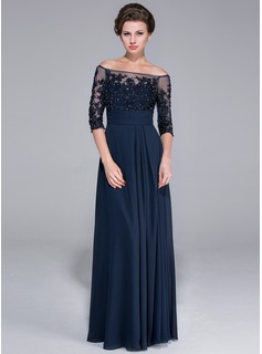 A-Line/Princess Off-the-Shoulder Floor-Length Chiffon Tulle Mother of the Bride Dress With Beading Appliques Lace Sequins
