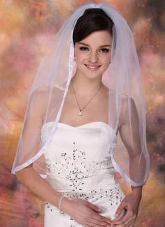Jednowarstwowe Elbow ślubny Welony Z Z Taśmą