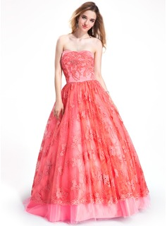 Ball-Gown Strapless Floor-Length Tulle Lace Prom Dress With Beading