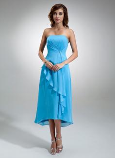 A-Line/Princess Strapless Asymmetrical Chiffon Bridesmaid Dress With Crystal Brooch Cascading Ruffles