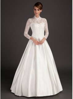 A-Line/Princess High Neck Floor-Length Satin Lace Wedding Dress