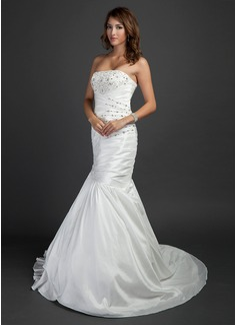 Trumpet/Mermaid Strapless Court Train Taffeta Wedding Dress With Ruffle Beading