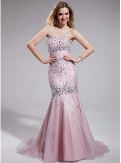 Mermaid Sweetheart Sweep Train Taffeta Organza Prom Dress With Ruffle Beading