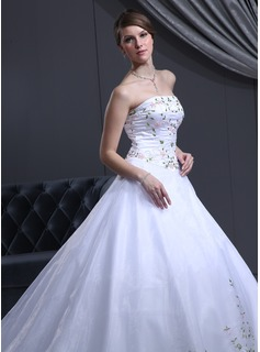 Ball-Gown Strapless Cathedral Train Satin Organza Wedding Dress With Beading