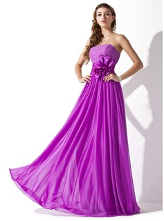 A-Line/Princess Strapless Floor-Length Chiffon Charmeuse Prom Dress With Ruffle Beading Flower(s)