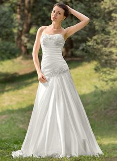 A-linjeformat Hjärtformad Sweep släp Charmeuse Bröllopsklänning med Rufsar Pärlbrodering Applikationer Spetsar Paljetter