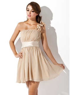A-Line/Princess One-Shoulder Short/Mini Chiffon Charmeuse Homecoming Dress With Ruffle Flower(s)
