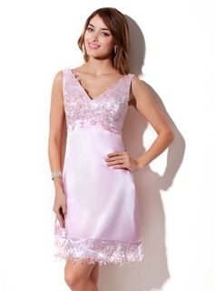 Empire V-neck Knee-Length Charmeuse Bridesmaid Dress With Lace Beading