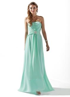 A-Line/Princess Strapless Sweep Train Chiffon Bridesmaid Dress With Ruffle Beading Crystal Brooch