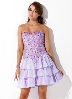 A-Line/Princess Sweetheart Short/Mini Chiffon Homecoming Dress With Beading