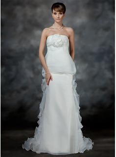 Empire Strapless Court Train Organza Satin Wedding Dress With Ruffle Flower(s)
