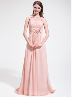 A-Line/Princess Sweetheart Sweep Train Chiffon Bridesmaid Dress With Ruffle Beading Flower(s)