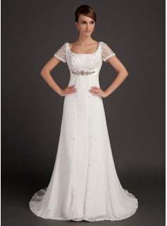 A-Line/Princess Scoop Neck Court Train Chiffon Satin Wedding Dress With Lace Beading