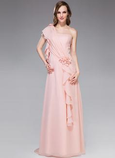 A-Linie/Princess-Linie One-Shoulder-Träger Watteau-falte Chiffon Festliche Kleid mit Perlen verziert Blumen Gestufte Rüschen