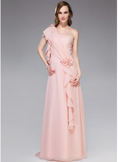 A-linjeformat One-Shoulder Watteau släp Chiffong Festklänning med Pärlbrodering Blomma (or) Svallande Krås