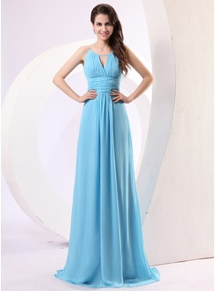 A-Line/Princess Scoop Neck Floor-Length Chiffon Holiday Dress With Ruffle