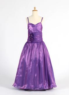 A-Line/Princess Sweetheart Floor-Length Organza Flower Girl Dress With Ruffle Flower(s)