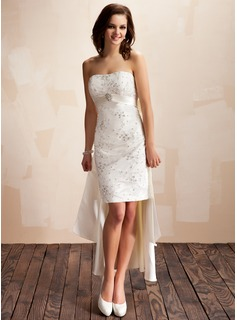 Sheath/Column Sweetheart Asymmetrical Detachable Satin Wedding Dress With Beading Crystal Brooch Sequins Bow(s)