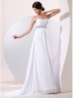 Empire Sweetheart Sweep Train Chiffon Evening Dress With Ruffle Beading Sequins (017014078)