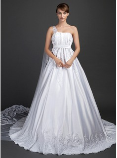 Ball-Gown One-Shoulder Watteau Train Satin Tulle Wedding Dress With Lace