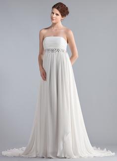 Empire Strapless Chapel Train Chiffon Wedding Dress With Ruffle Lace Beading