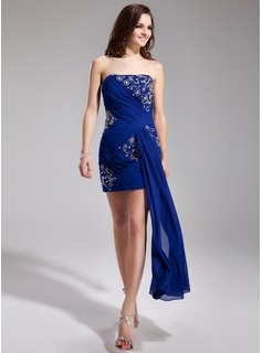 Sheath/Column Strapless Short/Mini Chiffon Prom Dress With Ruffle Beading Sequins