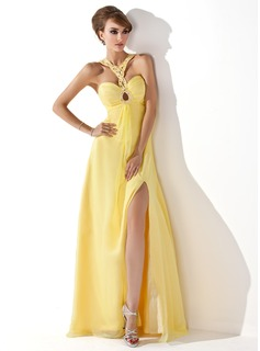 A-Line/Princess Sweetheart Floor-Length Chiffon Prom Dress With Ruffle Beading (018005352)