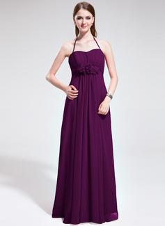 Imperialna Kantar Do Podłogi Chiffon Suknia dla Druhny Z Żabot Kwiat(y)