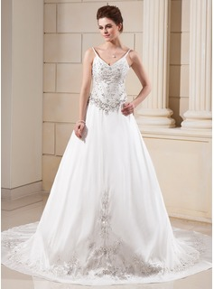 A-Line/Princess V-neck Chapel Train Taffeta Wedding Dress With Embroidered Beading