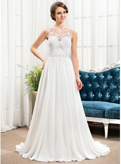 A-Line/Princess Scoop Neck Sweep Train Chiffon Tulle Evening Dress With Ruffle Beading Sequins