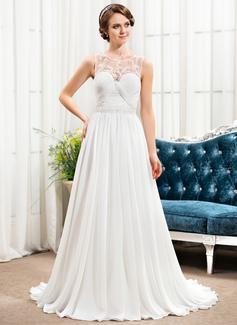 A-Linie/Princess-Linie U-Ausschnitt Sweep/Pinsel zug Chiffon Tüll Abendkleid mit Rüschen Perlen verziert Pailletten