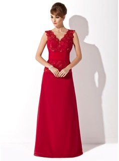 A-Line/Princess V-neck Floor-Length Chiffon Tulle Mother of the Bride Dress With Ruffle Lace Beading Sequins