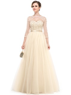 Ball-Gown Sweetheart Floor-Length Satin Tulle Evening Dress With Beading Flower(s)