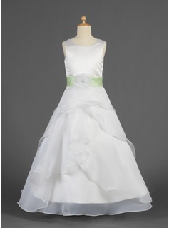 A-Line/Princess Scoop Neck Floor-Length Organza Charmeuse Flower Girl Dress With Sash Flower(s) Cascading Ruffles