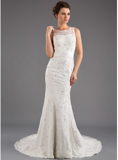 Trumpet/Mermaid Scoop Neck Court Train Satin Lace Wedding Dress With Beading Sequins Bow(s)
